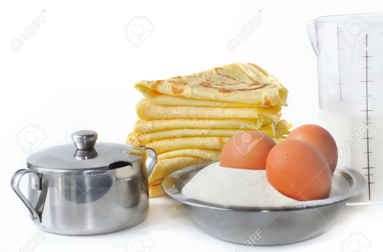 ingredients for cooking tasty pancakes on white background Stock Photo - 17473807