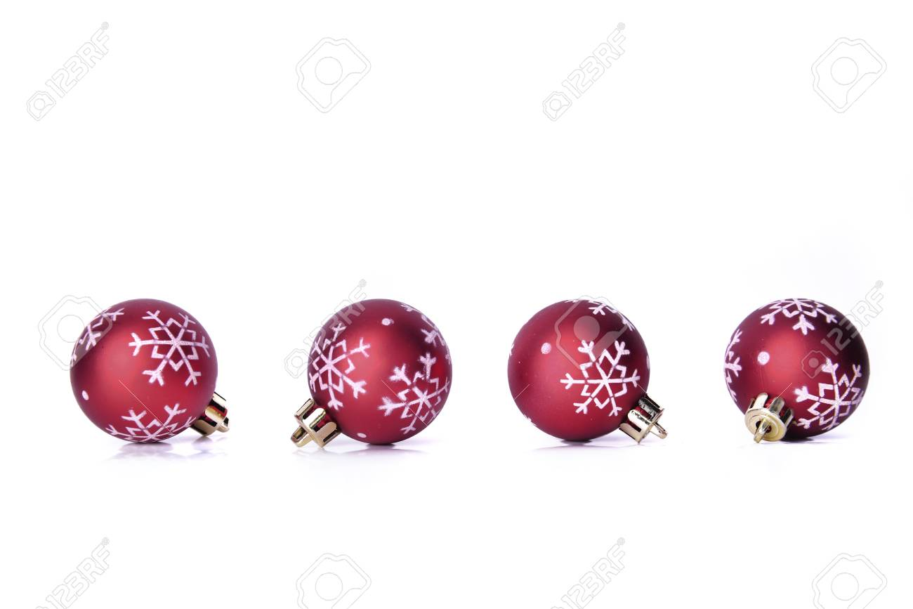 Red Christmas.Line Of Red Christmas Baubles With Snowflakes Shape Isolated