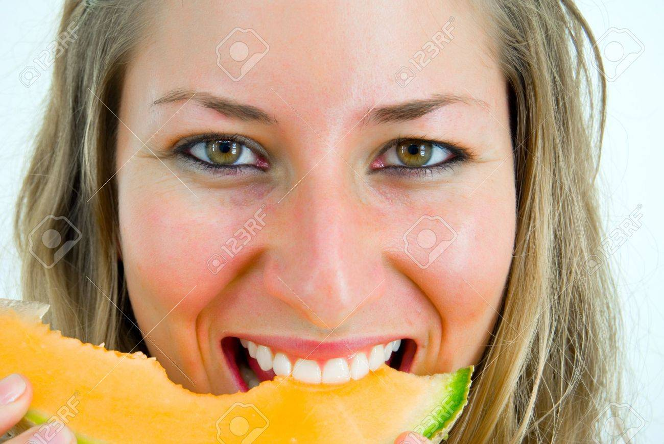 Portrait of beautiful sexy young woman model with water-melon on ...