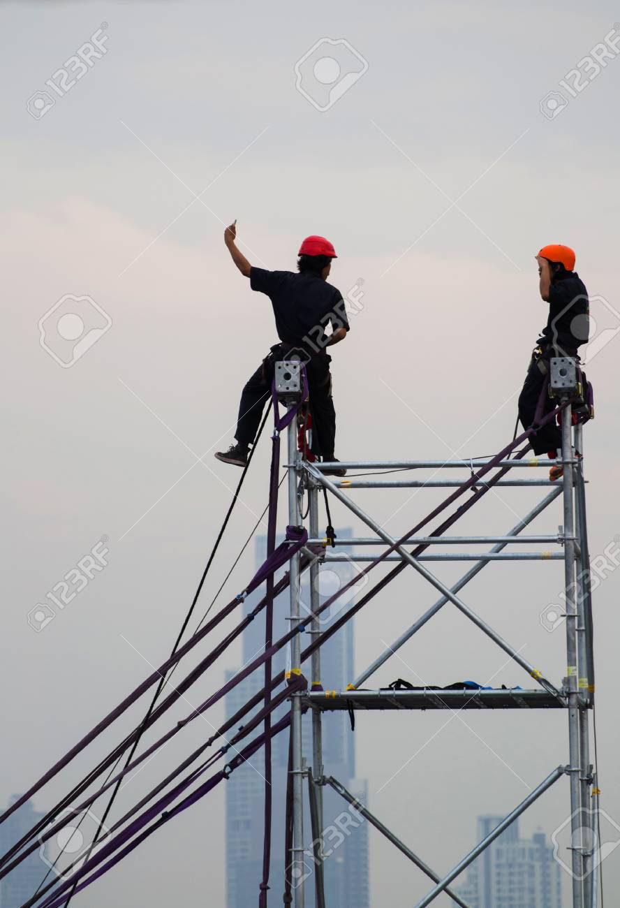 Construction Worker On A Scaffold, Symbolfoto For Building ...