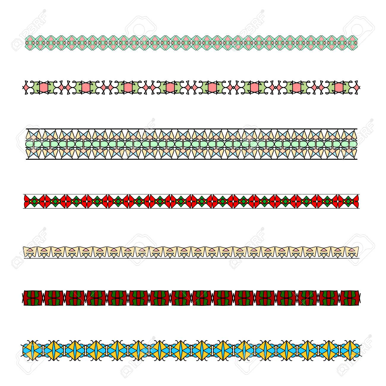 Colored Borders Patterned Strip For Design Patterned Decorative