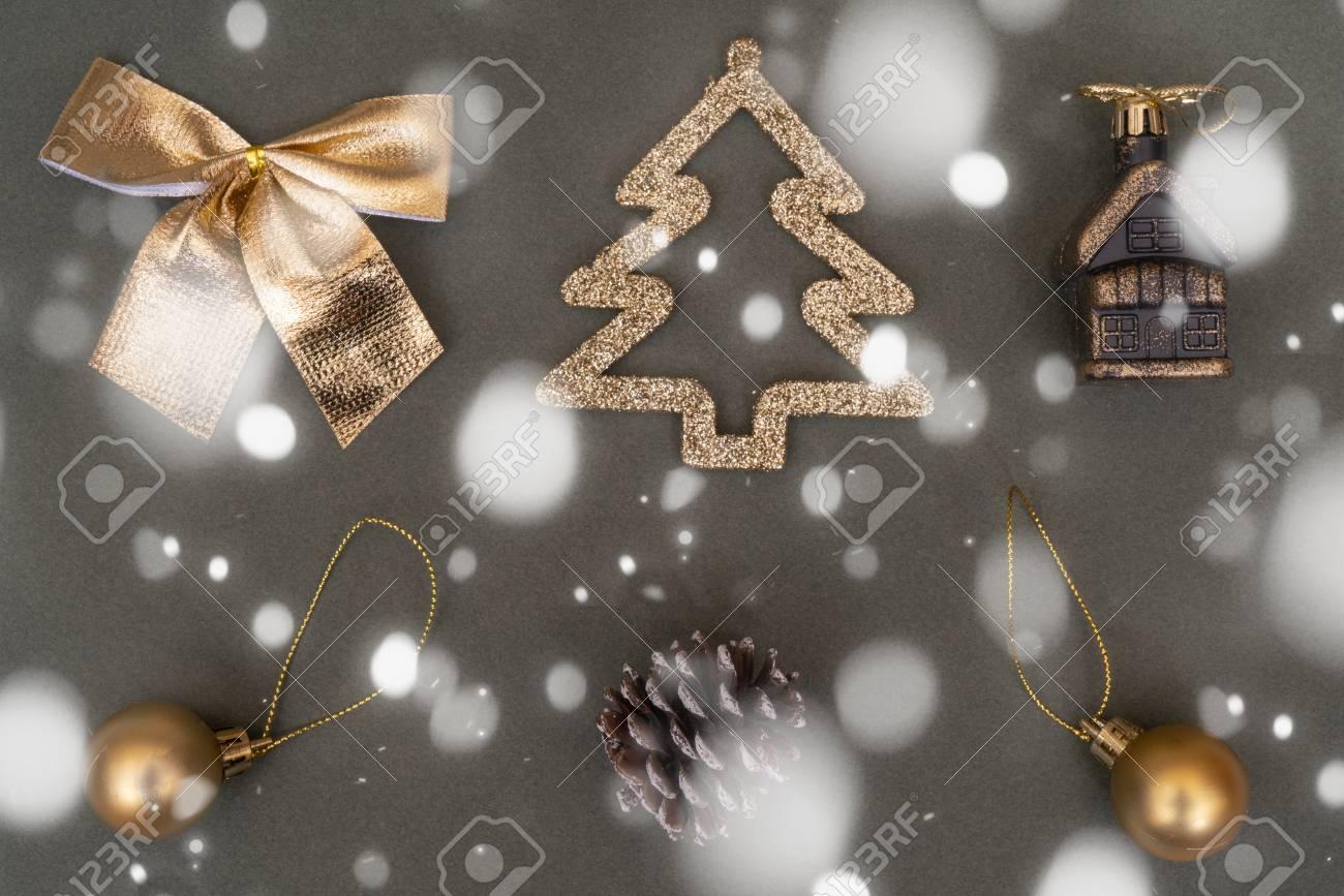 Golden Christmas Tree Decorations Ball Bump Fir Bow