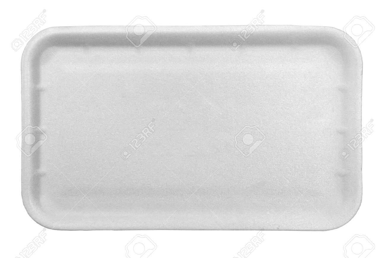White styrofoam food tray isolated on white background. - 129062655