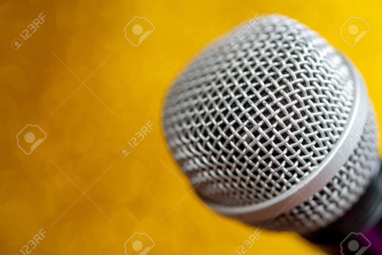 Professional dynamic microphone. Concert microphone for voice recording and sound enhancement. Sound equipment. - 141541915