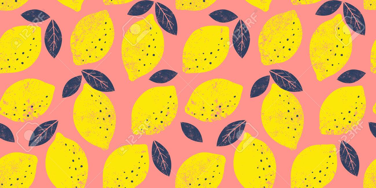 Lemon Seamless Pattern Trendy Summer Background Vector Bright