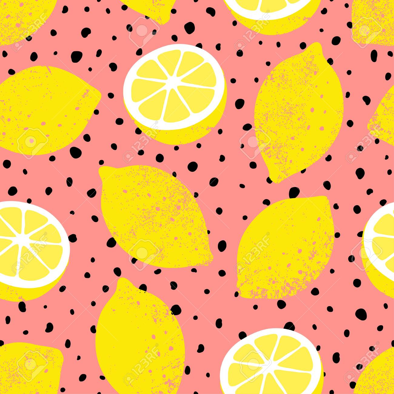 Hand Drawn Seamless Lemon Pattern With Black Dots Trendy Summer