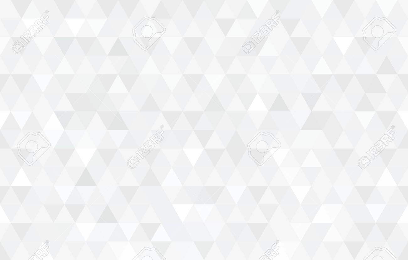 Vector white triangular mosaic texture. Abstract geometric pattern. Modern low poly background. - 137669247