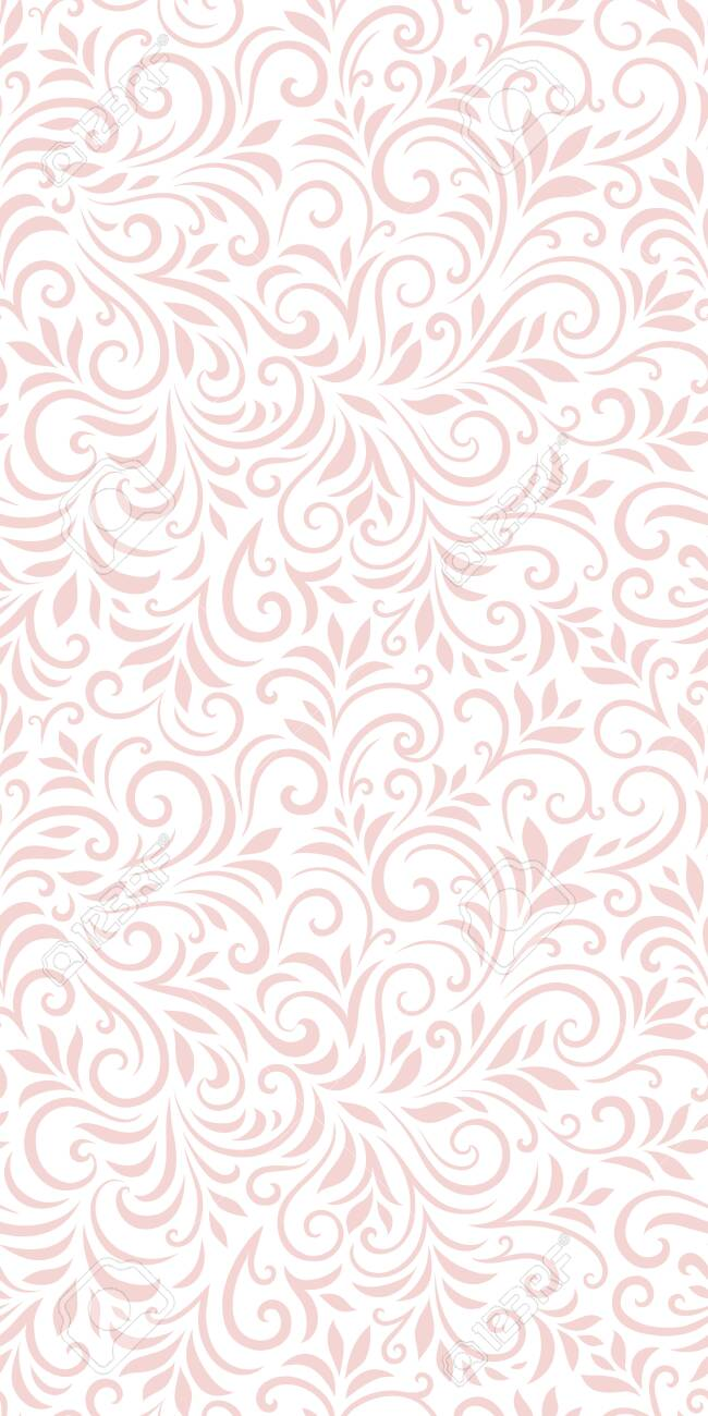 Vector seamless pattern with leaves and curls. Monochrome abstract floral background. - 156955599