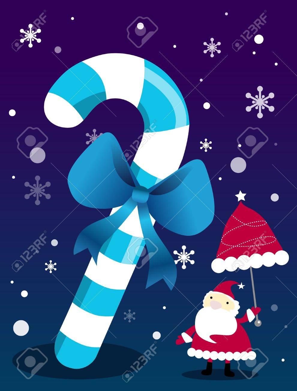 Santa under a big stick Stock Vector - 11666774