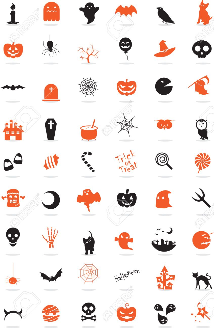 Icon Set Halloween Things With Orange And Grey Royalty Free Cliparts Vectors And Stock Illustration Image 30828231