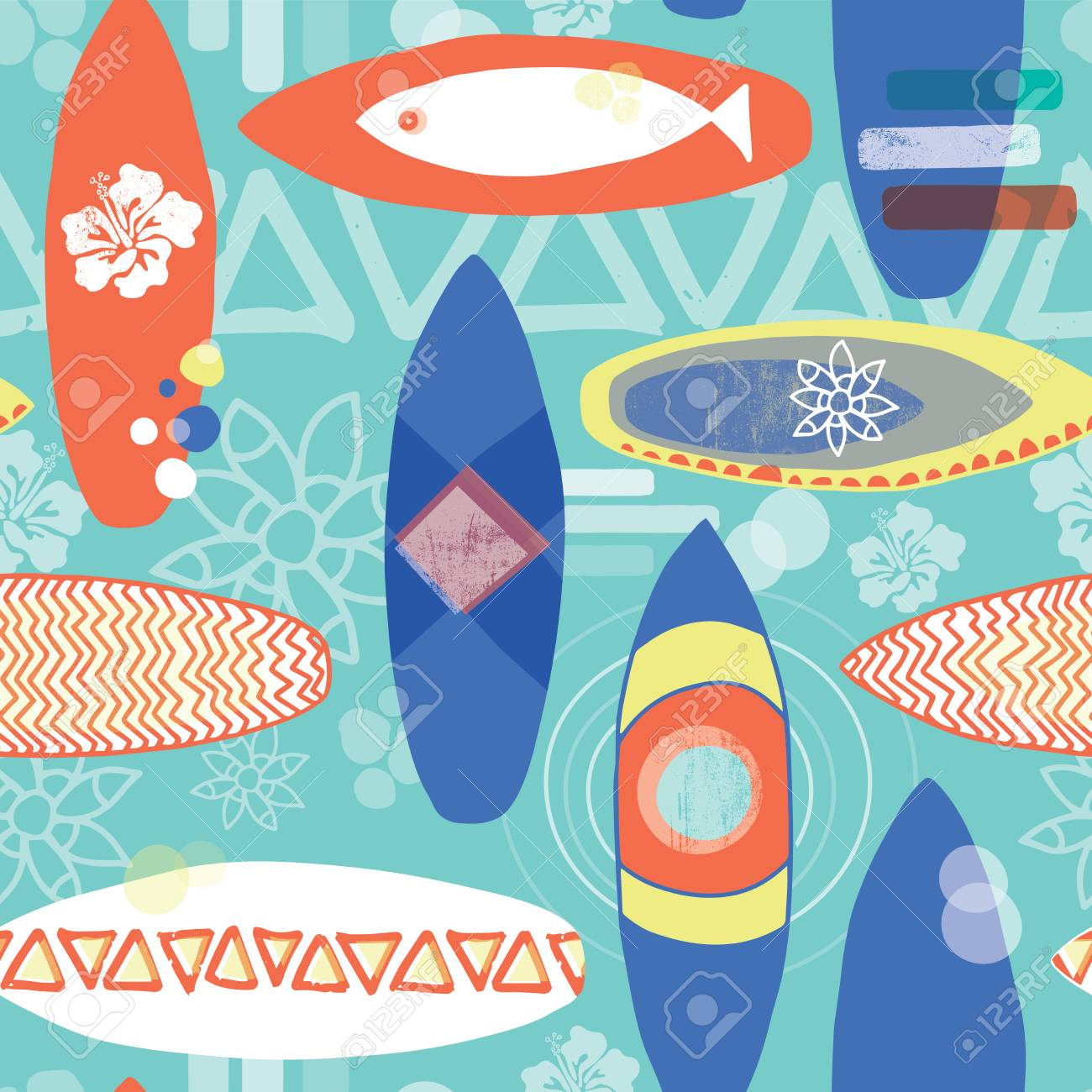 Retro Inspired Surfboards Seamless Repeat Pattern Orange White