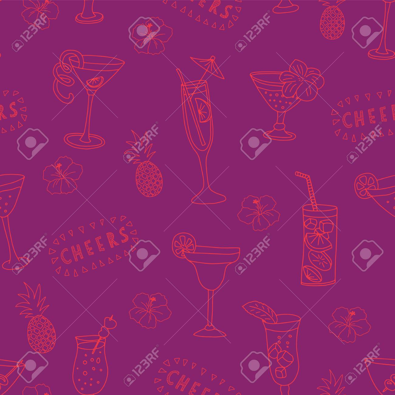 Cocktail Glasses Seamless Vector Pattern Pink Drinking Glasses