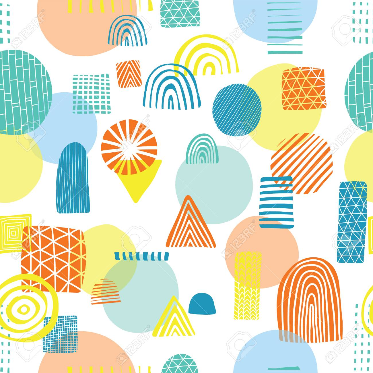 Abstract Shapes Seamless Vector Pattern Triangles Circles