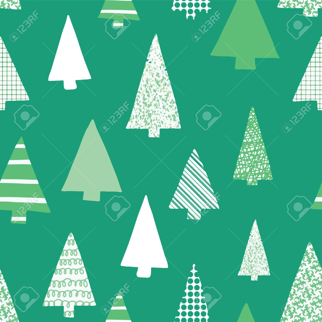 Christmas Trees Silhouette.Abstract Christmas Trees Vector Seamless Pattern Christmas Tree