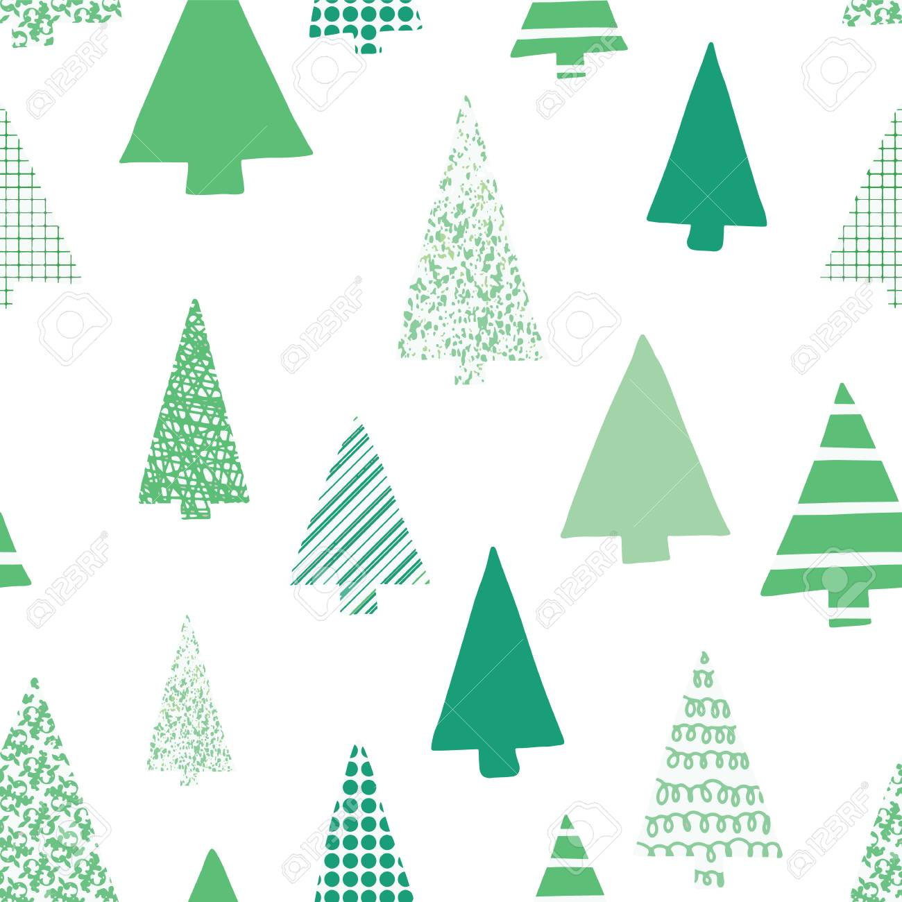 Christmas Trees Silhouette.Abstract Green Christmas Trees Vector Seamless Pattern Christmas