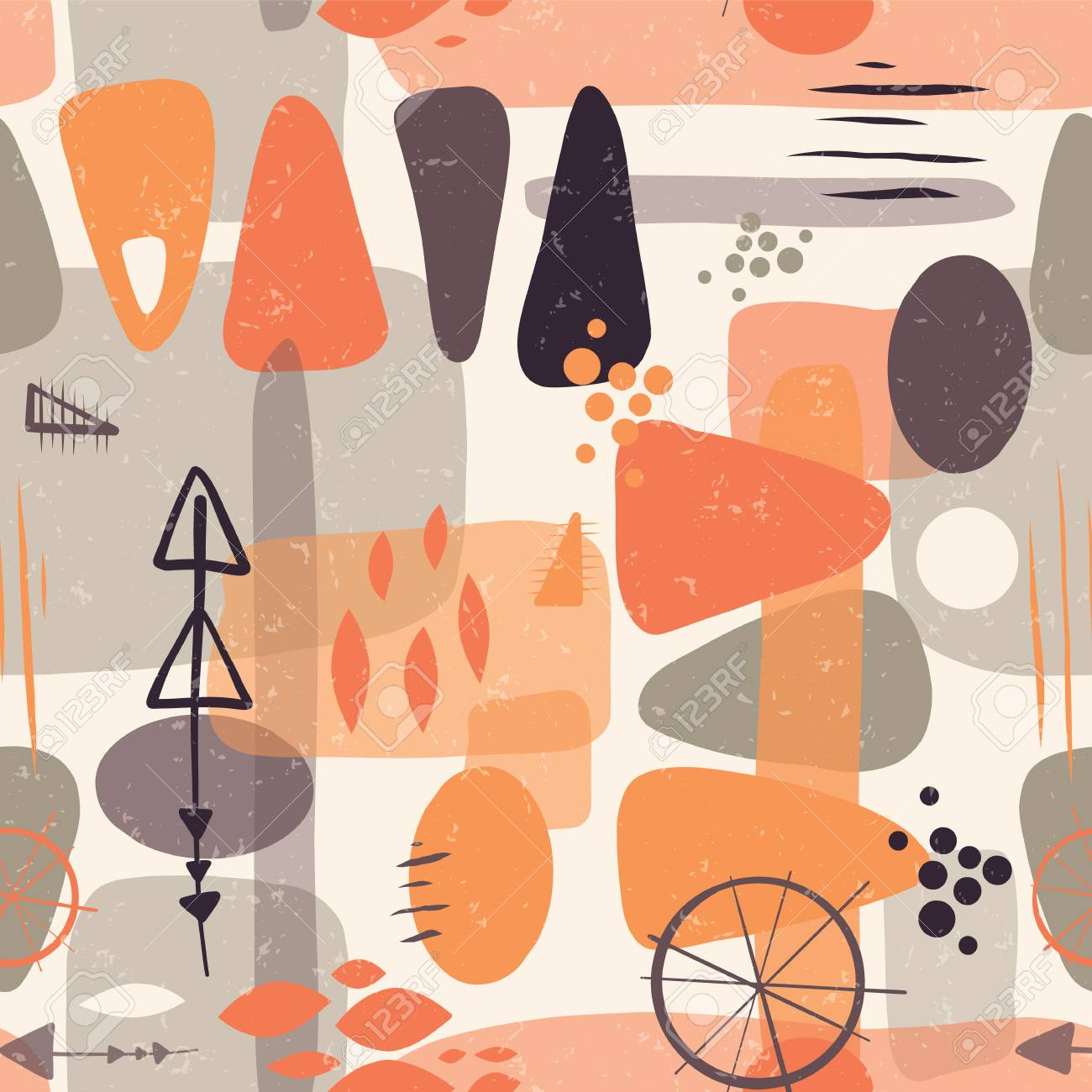 4c2a6db0d73 Abstract mid century shapes seamless vector background. 1950s print. Retro  inspired shapes squares