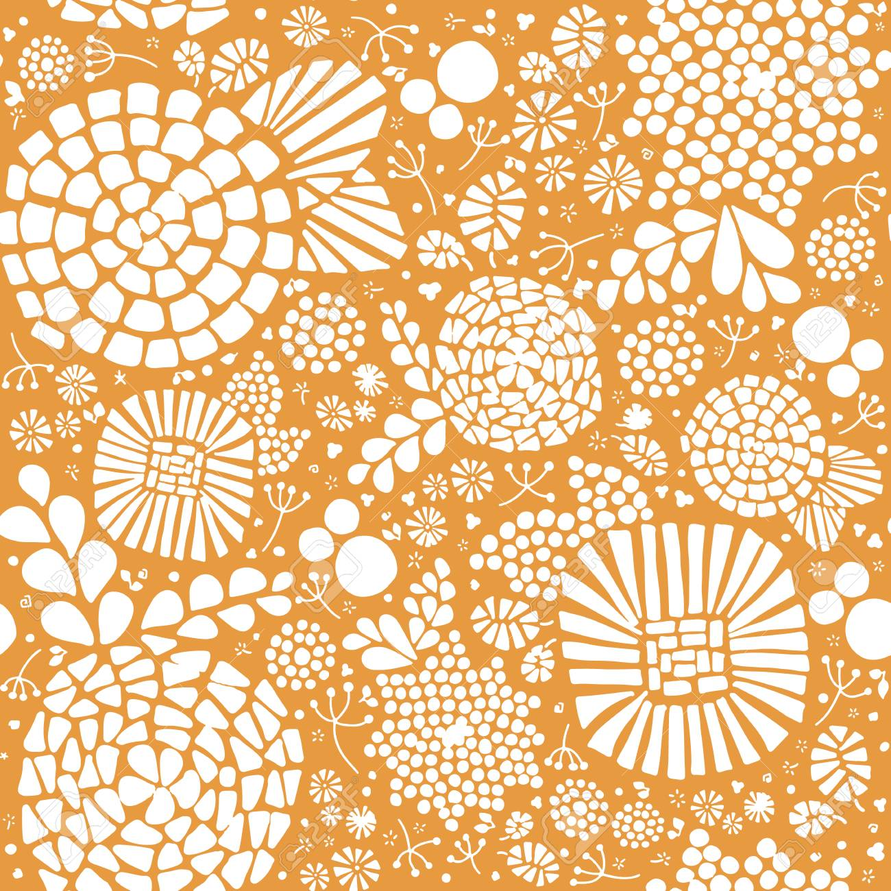 Floral Abstract Mosaic Seamless Vector Background White Flowers