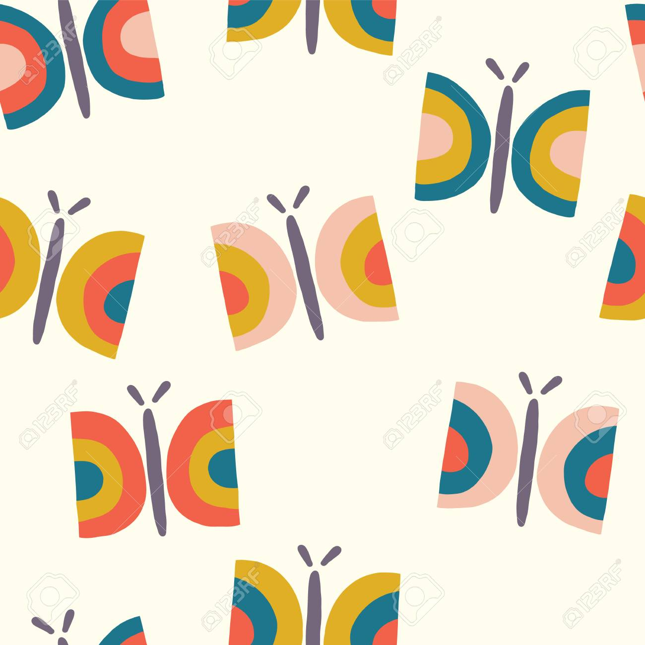 Retro butterfly seamless vector pattern background. Scandinavian seamless  hand drawn butterflies in vintage style for 0fc6139dd