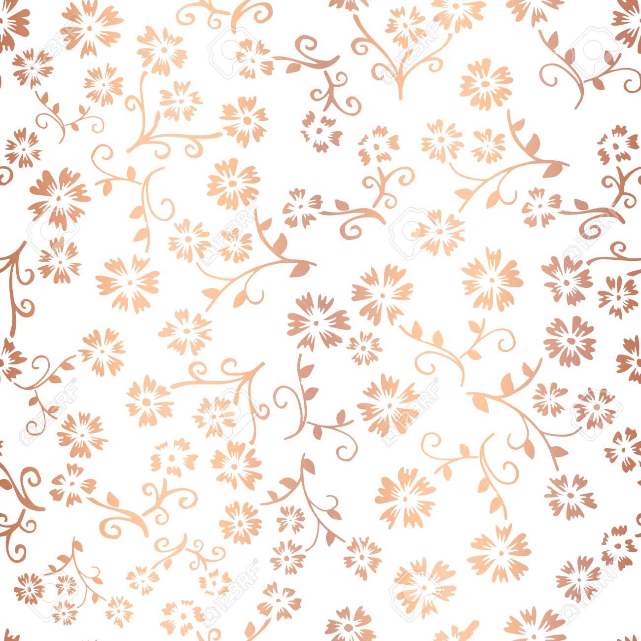 Copper Foil Flower Vector Seamless Pattern Background Elegant