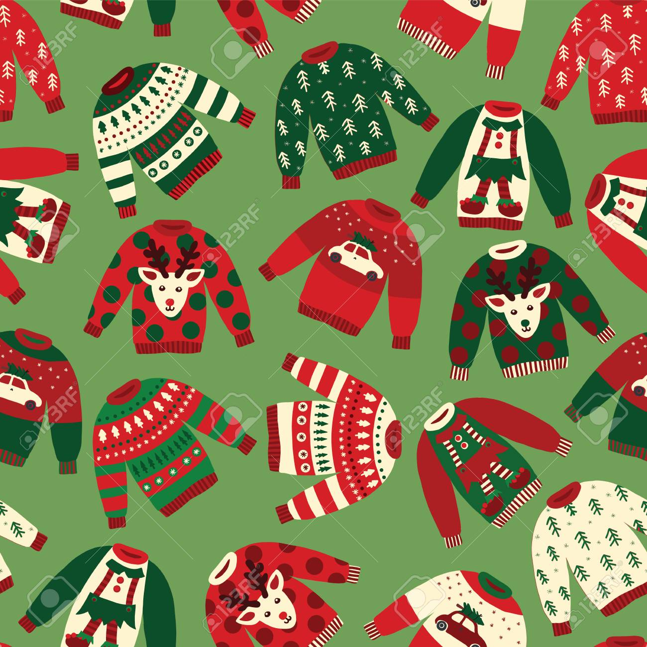 Ugly Christmas Sweaters Patterns.Ugly Christmas Sweaters Seamless Vector Pattern Knitted Winter