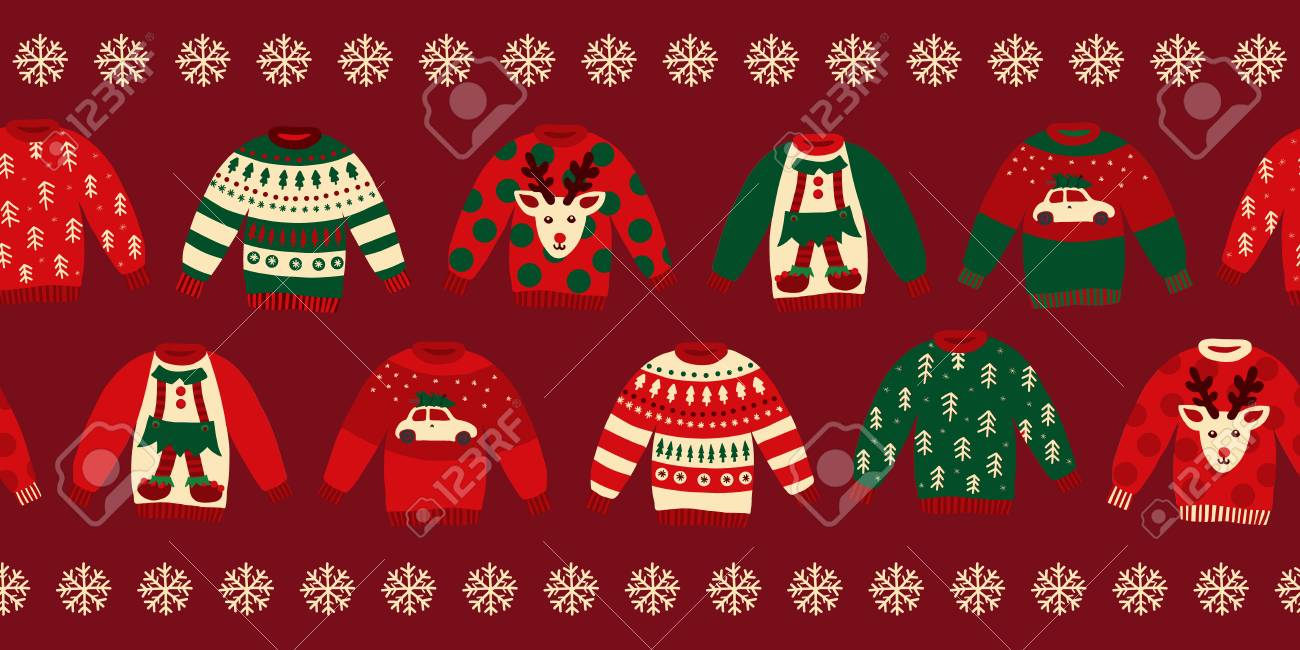 Ugly Christmas Sweater Design.Ugly Christmas Sweaters Seamless Vector Border Knitted Winter