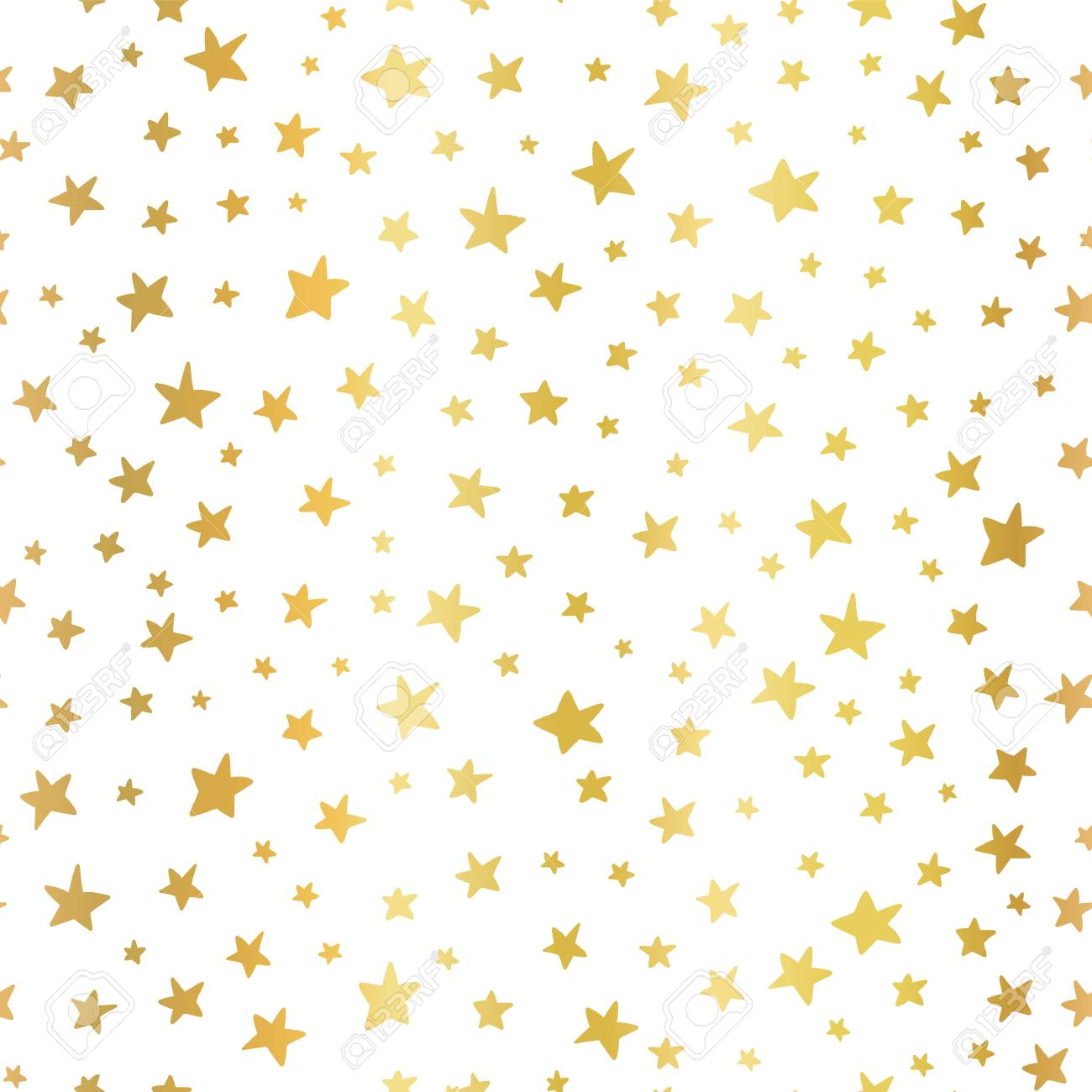 Seamless Vector Background Handdrawn Stars Gold Foil Pattern