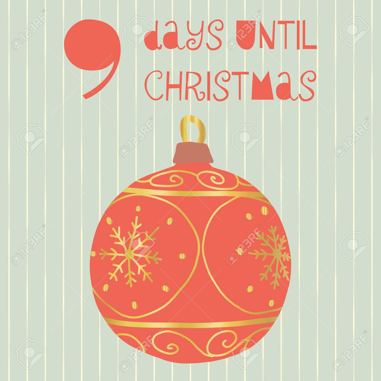 Until Christmas.9 Days Until Christmas Vector Illustration Christmas Countdown