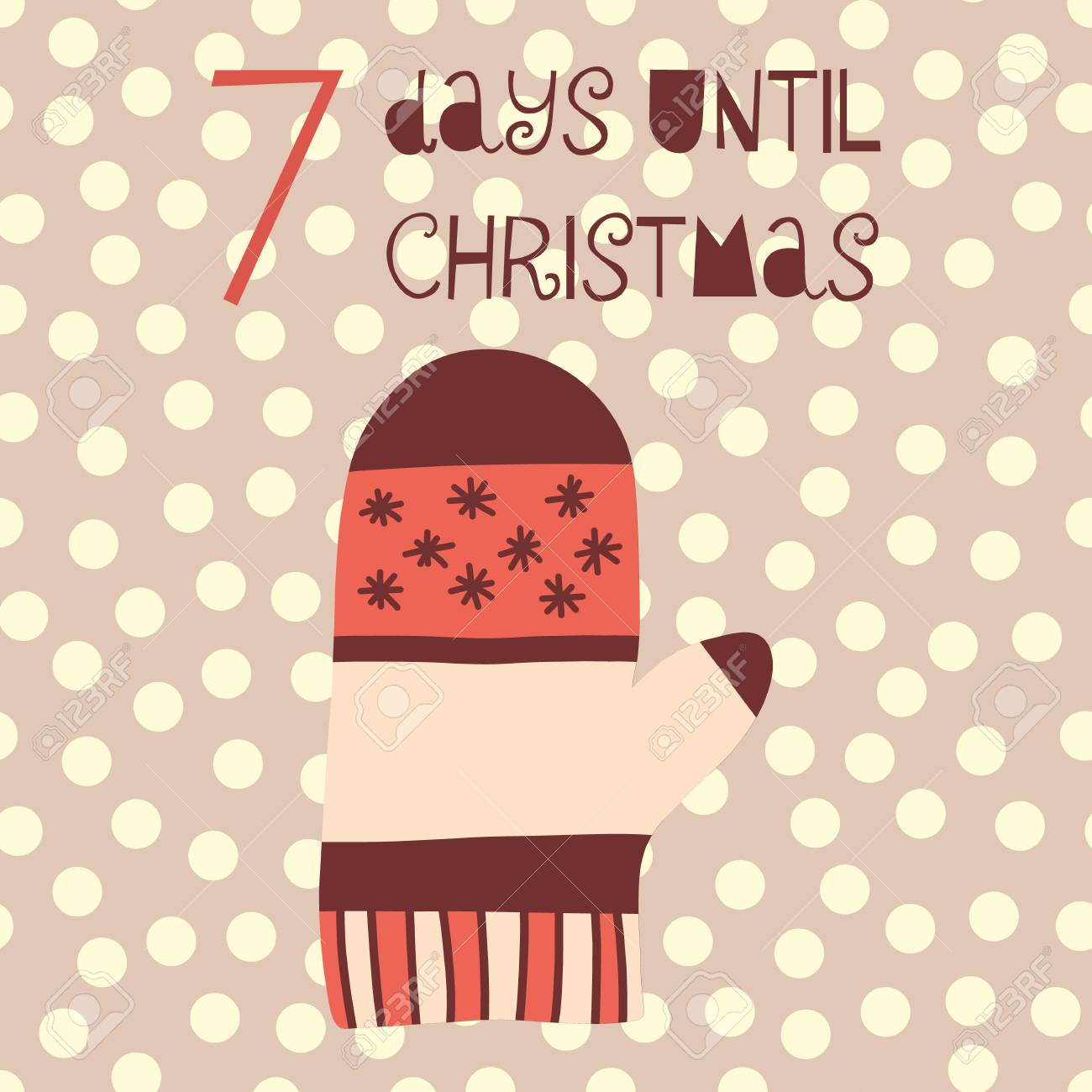 How Many Days Until Christmas Countdown.7 Days Until Christmas Vector Illustration Christmas Countdown