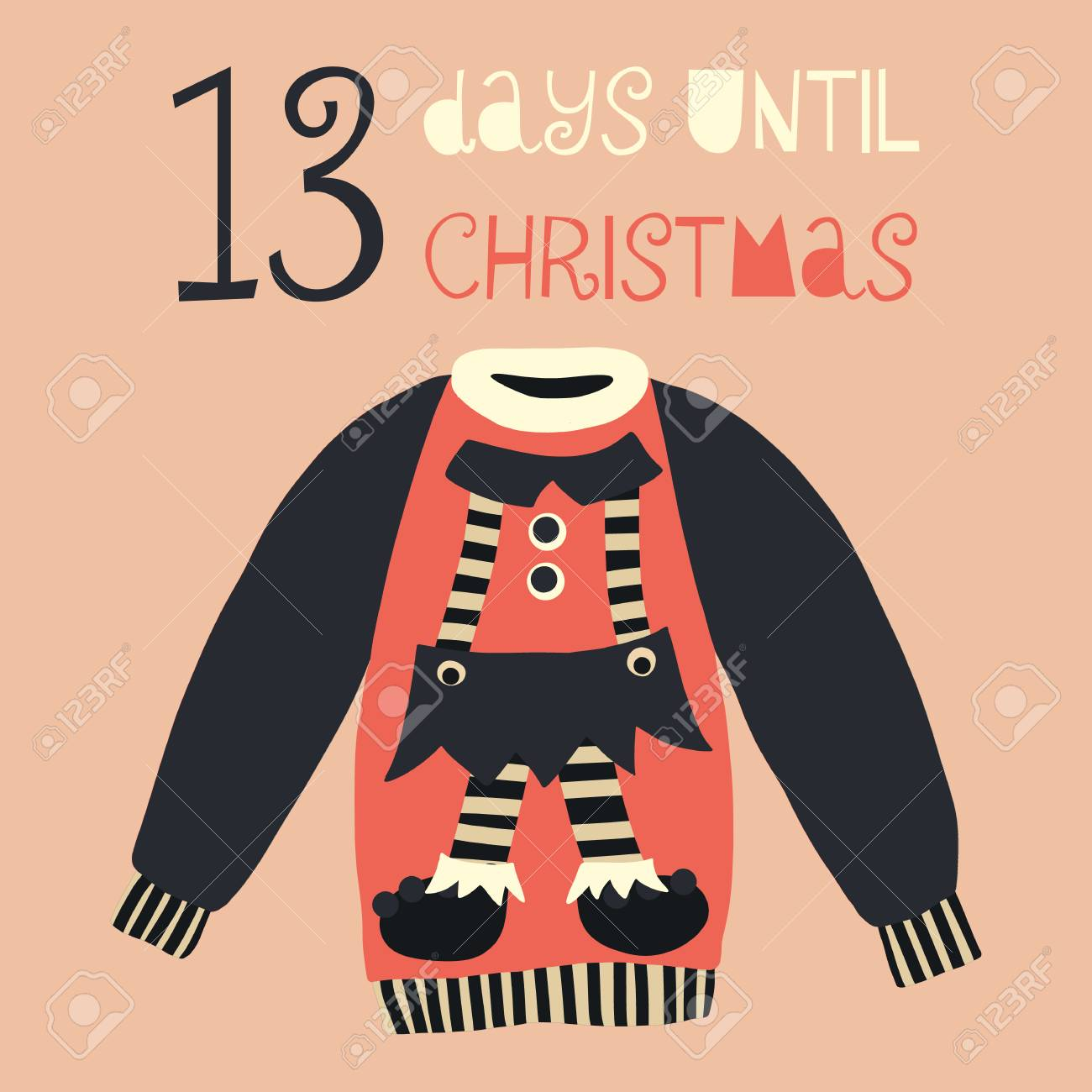 How Many Days Until Christmas Countdown.Stock Illustration