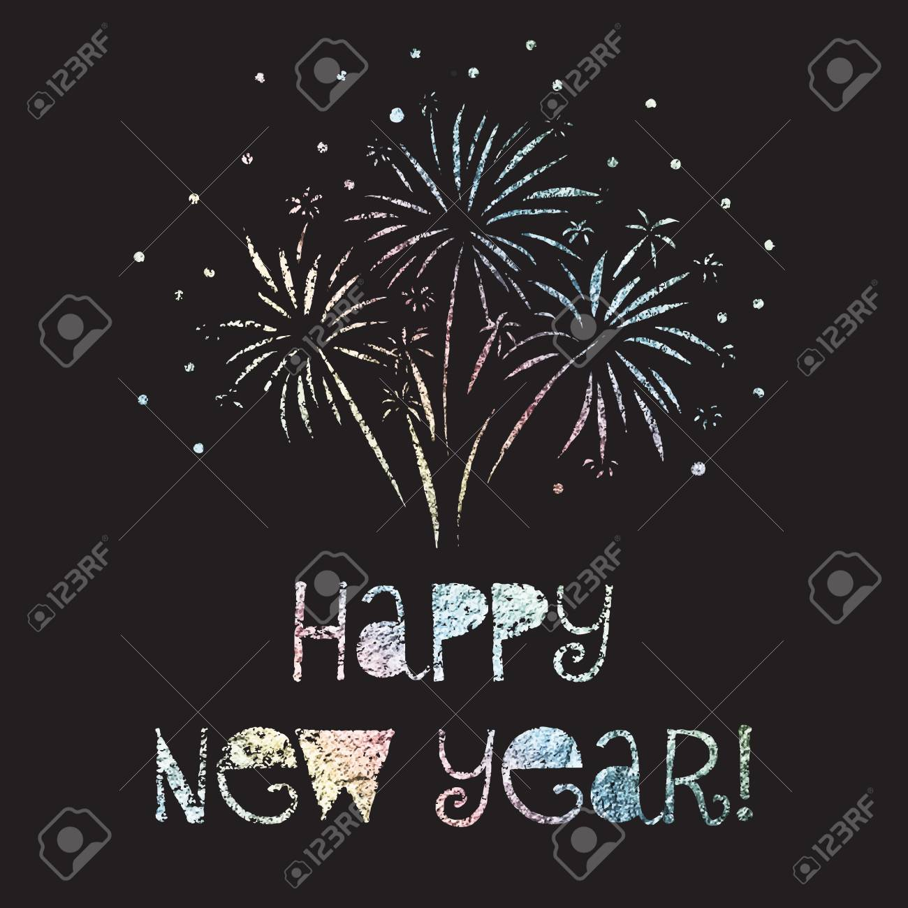 happy new year vector illustration firework glitter foil rainbow pastell colors on black background