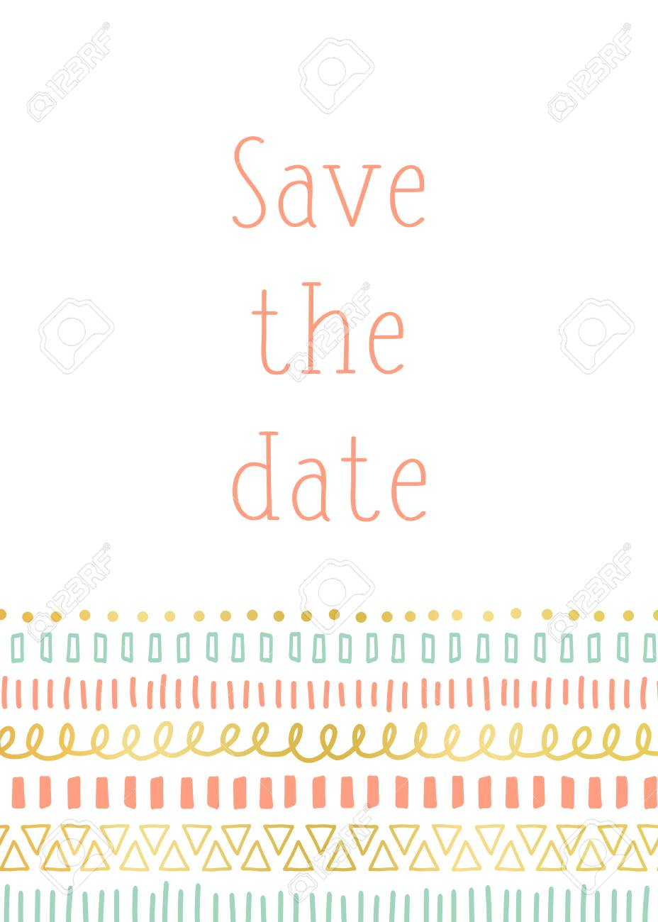 Save The Date Invitation Card Template Vector Contemporary Design