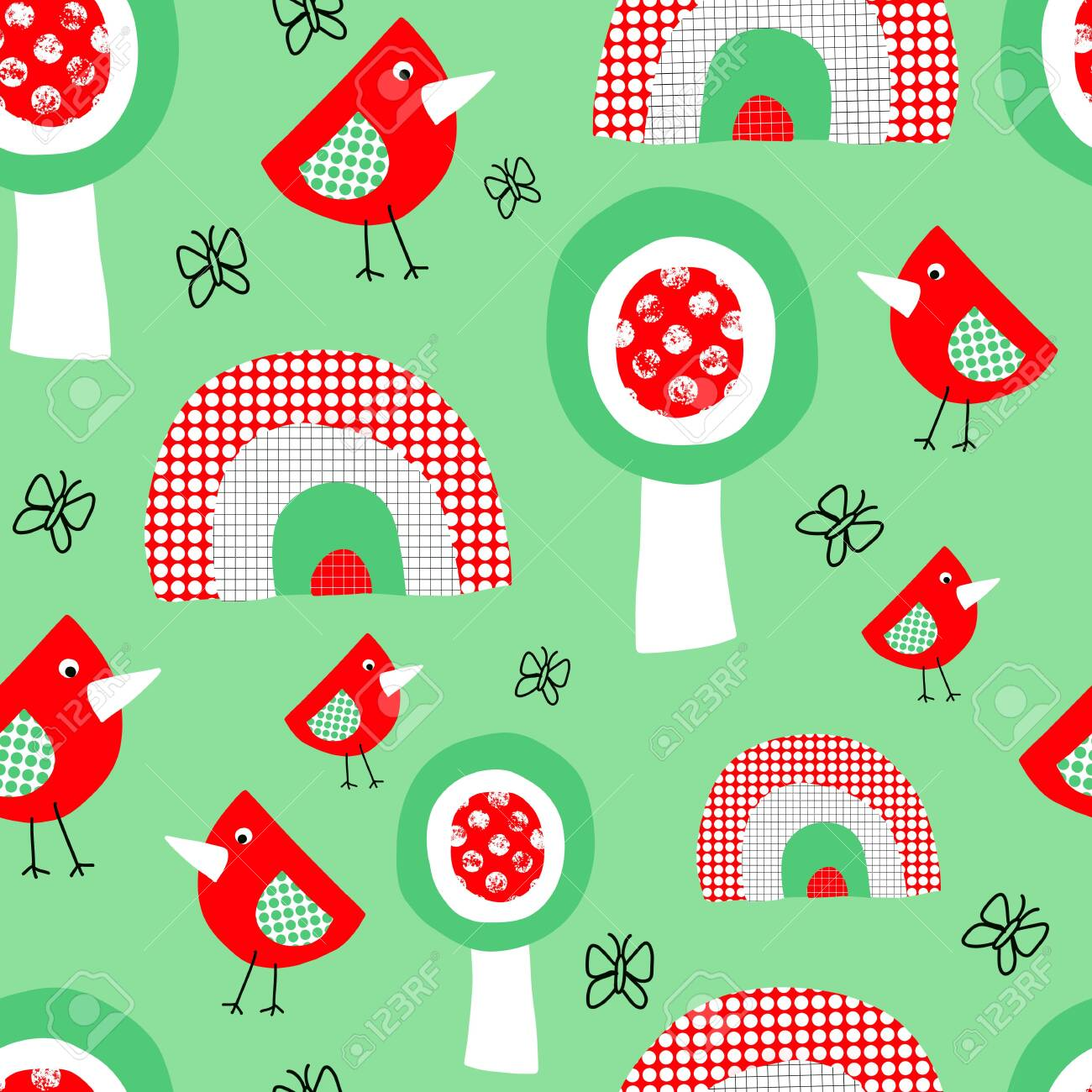 Cute Birds Trees And Rainbow Seamless Pattern For Kids Collage