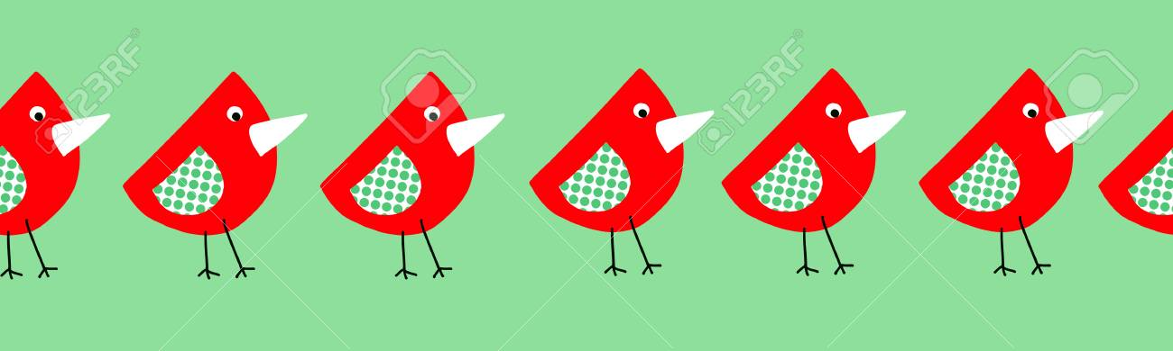 Cute Birds Seamless Border For Kids Collage Style Childish Repeating