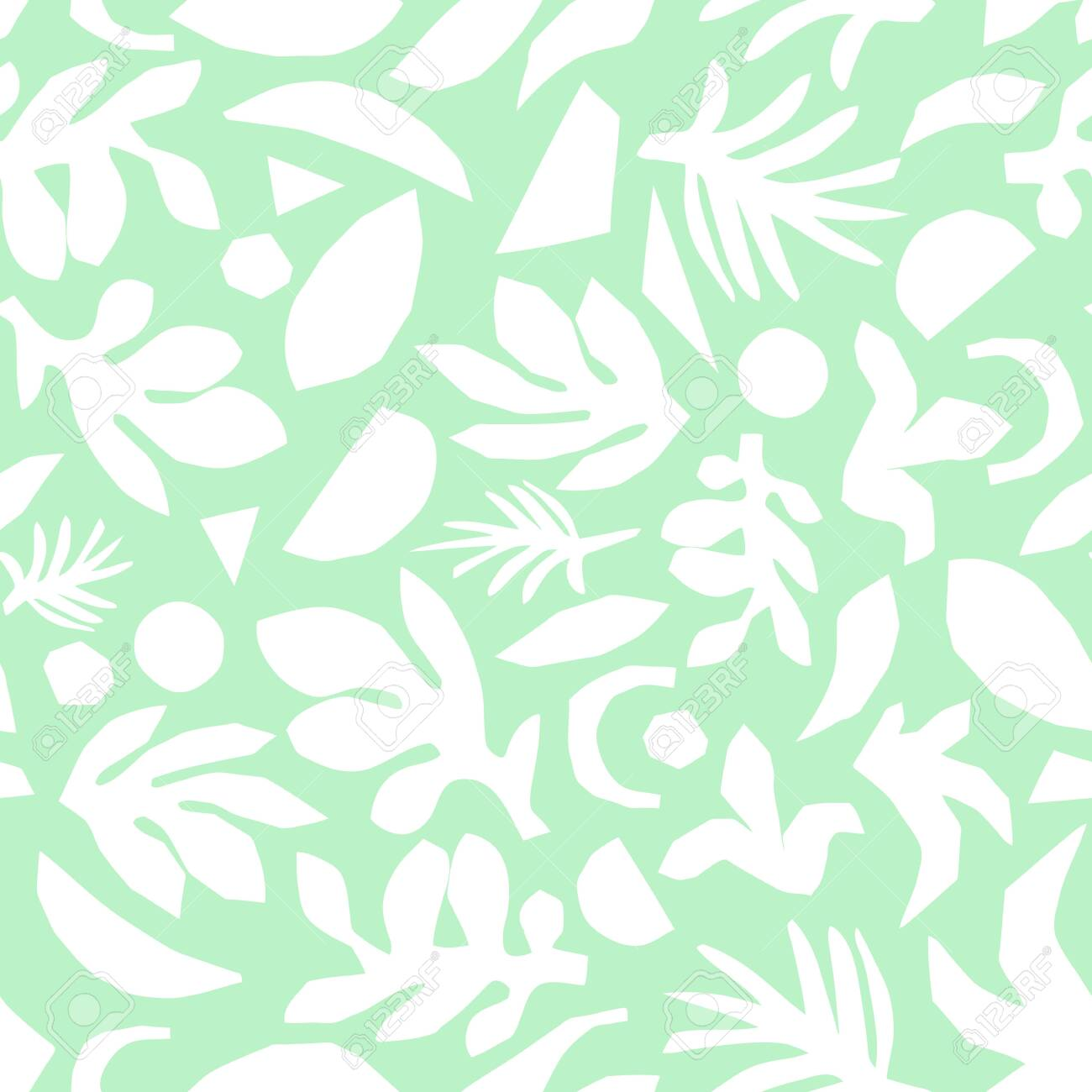 Subtle Green And White Floral Background Vector Feminine Seamless
