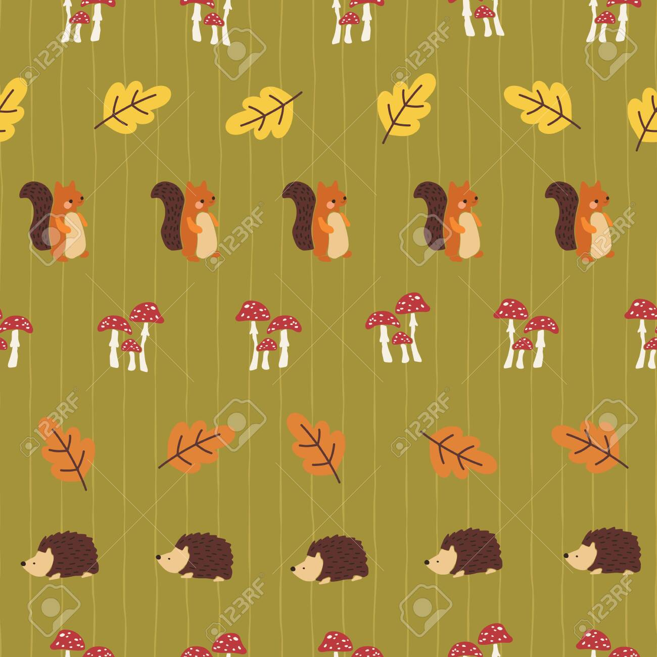 Squirrel Hedgehog Toadstool Mushrooms Autumn Leaf Seamless Vector Royalty Free Cliparts Vectors And Stock Illustration Image 132871842