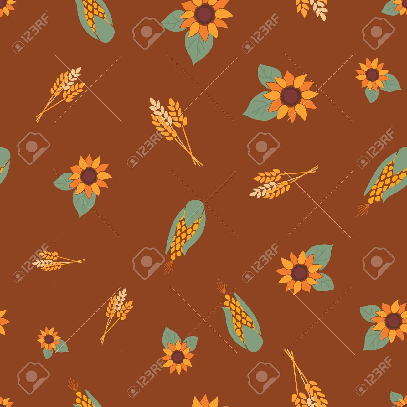Corn Crop And Sunflowers On Brown Background Seamless Repeating Royalty Free Cliparts Vectors And Stock Illustration Image 133198857