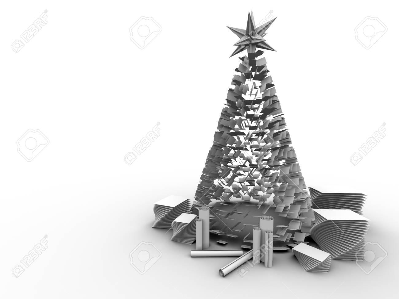 Arbre de noël dans des feuilles de papier fond blanc bureau