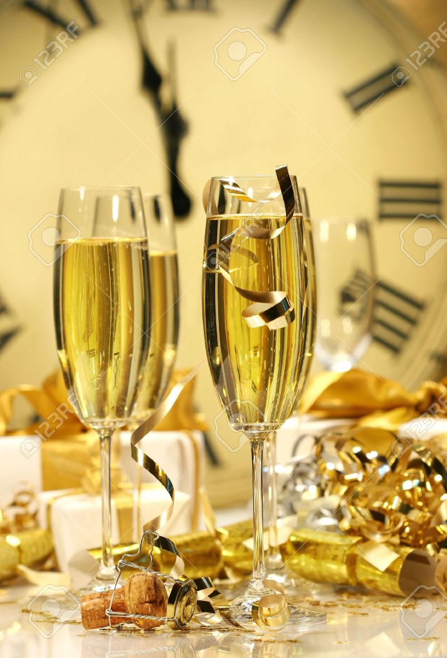 Champagne glasses ready to bring in the New Year Stock Photo - 2522481