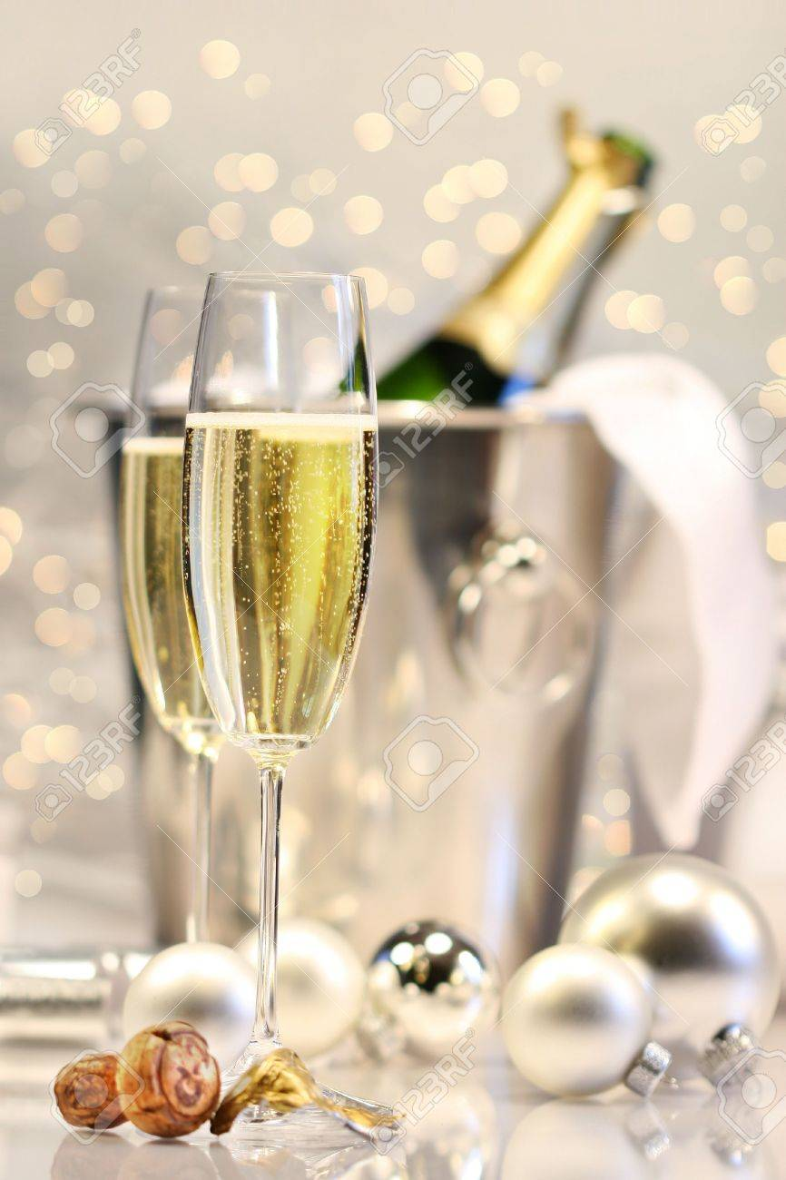 Silver champagne party with shimmering lights in background Stock Photo - 2522448