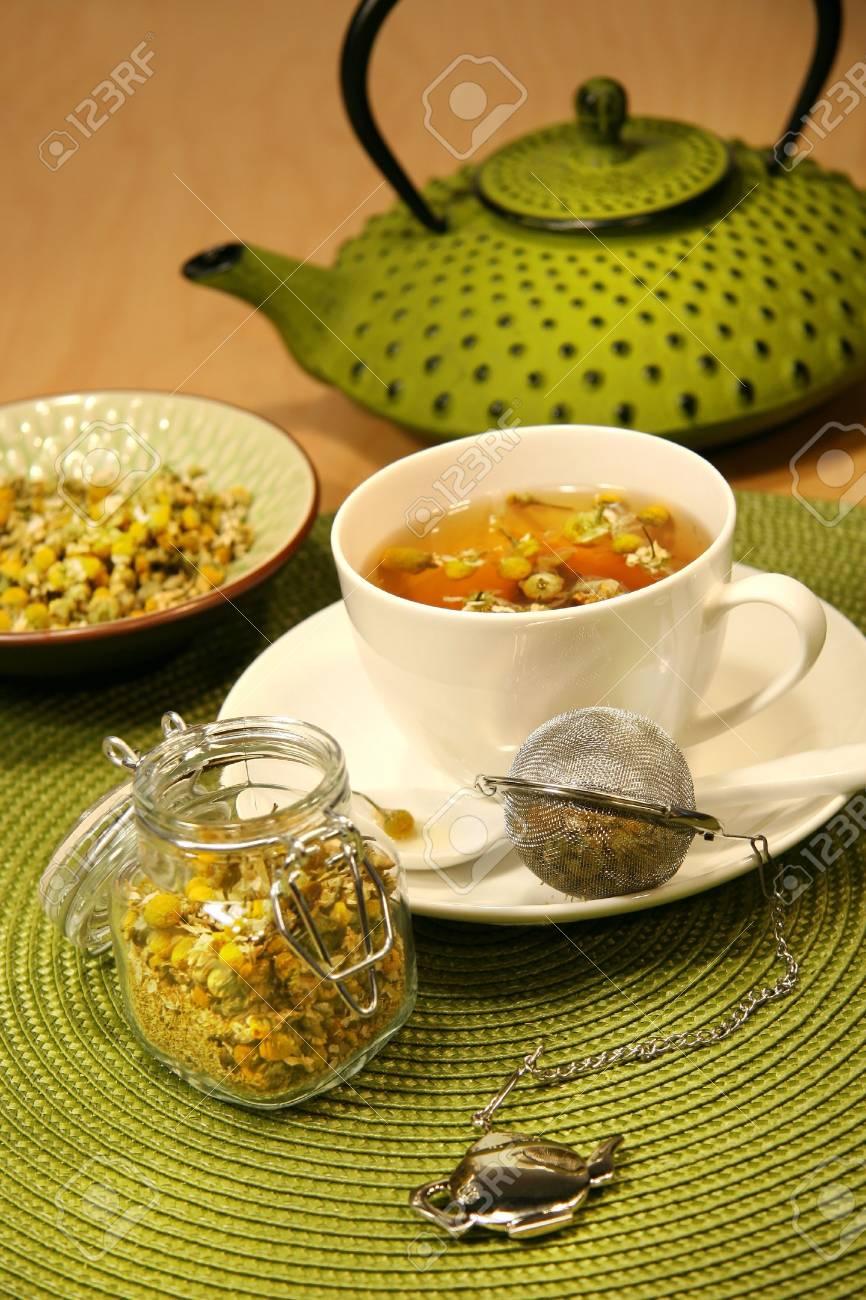 Closeup of chamomile  tea with asian teapot Stock Photo - 2536983
