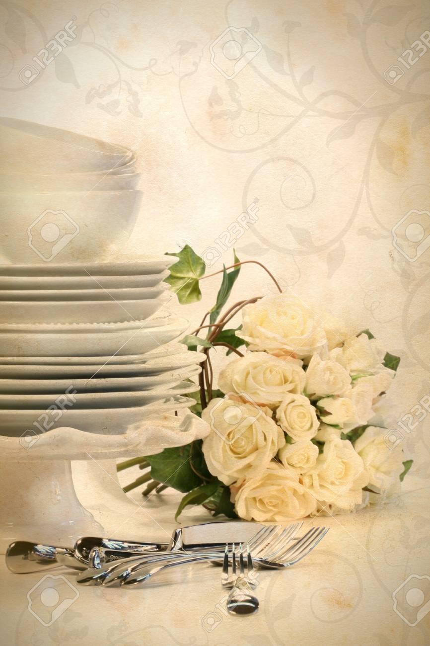 Sortiment Von Platten Fur Die Hochzeit Auf Weissem Hintergrund