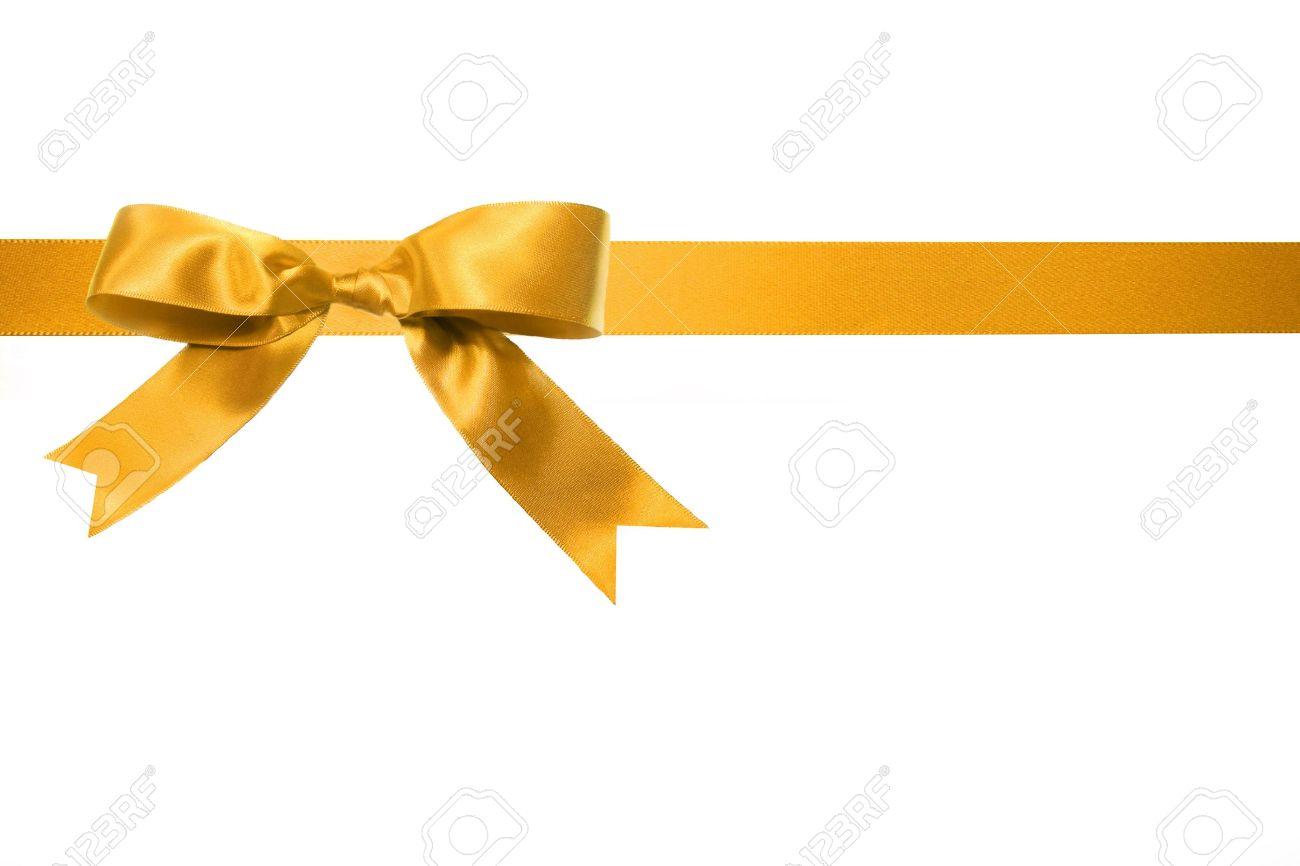 gold holiday gift bow isolated on white background stock photo