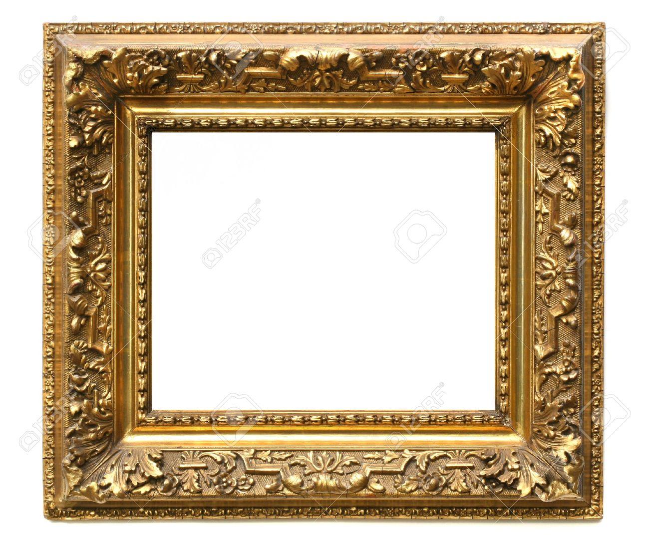 Old cracked gilded frame on white background Stock Photo - 3733936