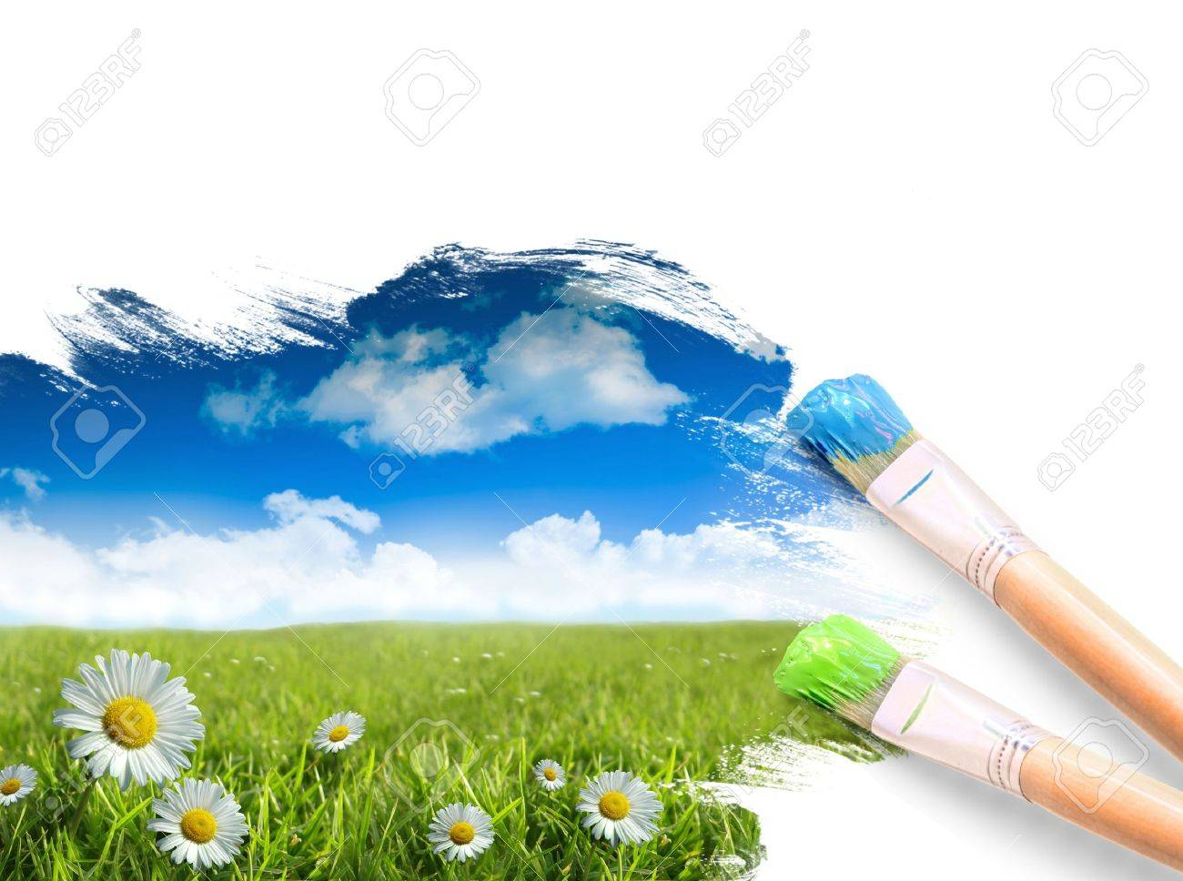 painting a landscape with summer blue sky stock photo picture and