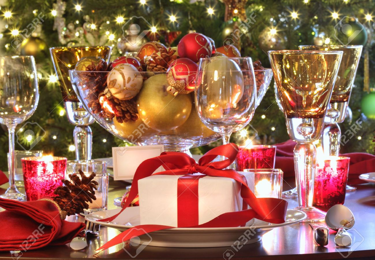 Elegant holiday table setting with red ribbon gift Stock Photo - 6026488 & Elegant Holiday Table Setting With Red Ribbon Gift Stock Photo ...