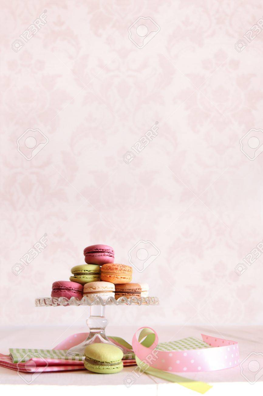 French macaroons on dessert tray with vintage feeling Stock Photo - 9417634