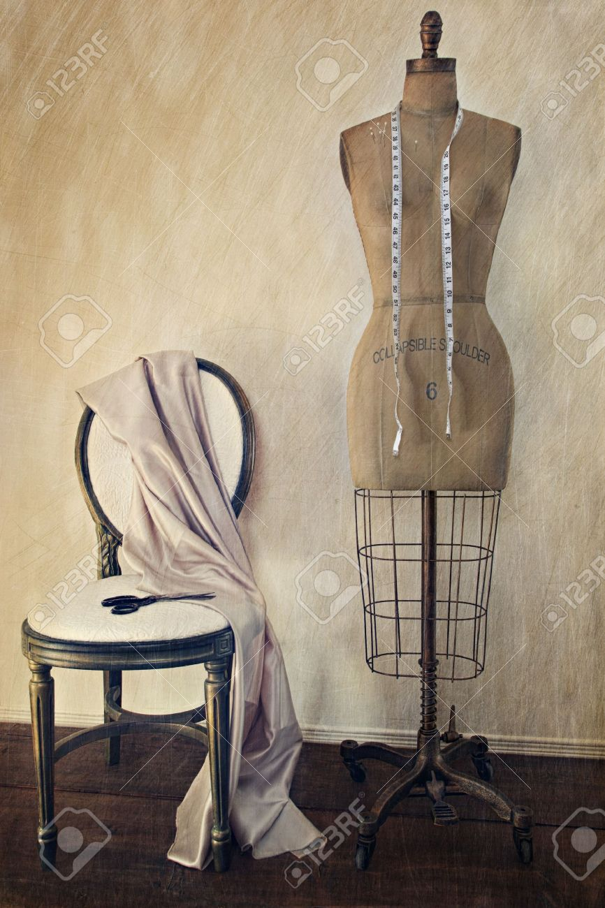 Antique Dress Form And Chair With Vintage Look Stock Photo ...