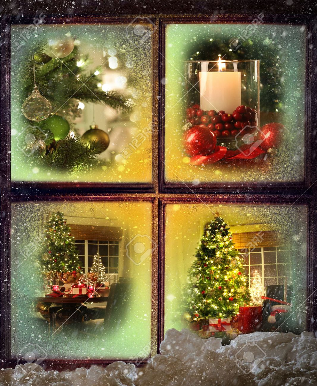 Vignettes of Christmas scenes seen through a snowy wooden window Stock Photo - 11453412