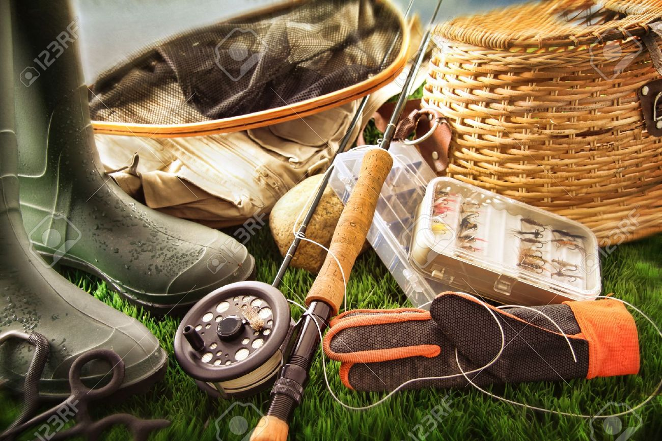 boots and fly fishing equipment on grass stock photo, picture and, Hard Baits