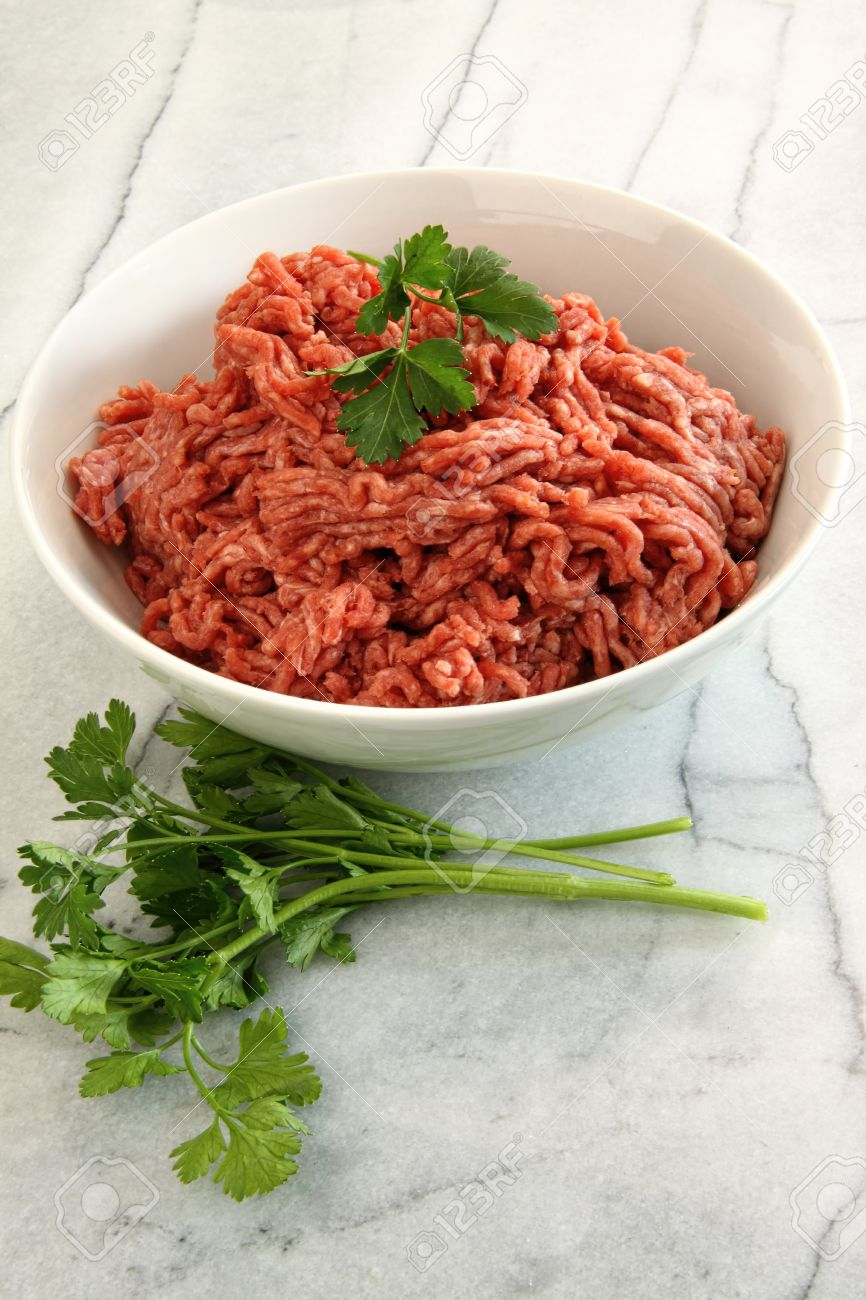 Close up of raw ground beef on marble cutting board Stock Photo - 17627689